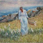 Woman Picking Flowers - Painting by Norman Enzor
