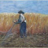 "Norman Enzor Painting - ""Farmer Cutting Wheat"""